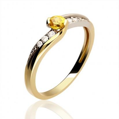 Pierścionek złoty z cyrkoniami.