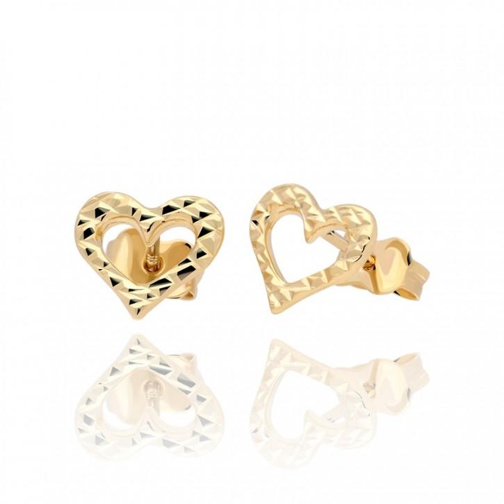 Kolczyki złote karbowane serca.