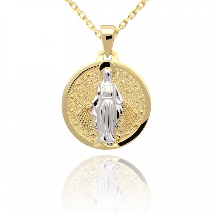 Złota zawieszka medalik z żółtego złota.