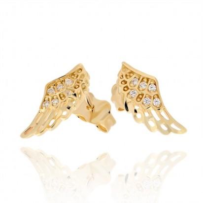 Kolczyki złote ażurowe skrzydełka.